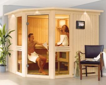 Karibu Sauna Amelia 3 68mm mit Bio Ofen 9kW extern classic Tür Bild 4