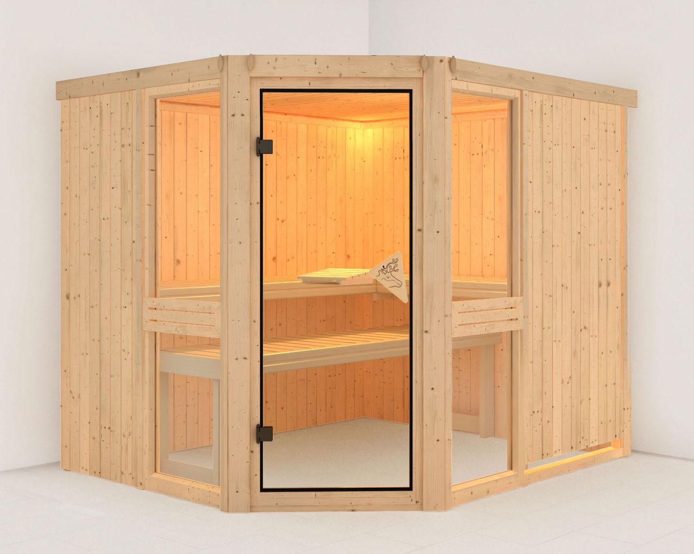 Karibu Sauna Amelia 3 68mm ohne Ofen classic Tür Bild 1