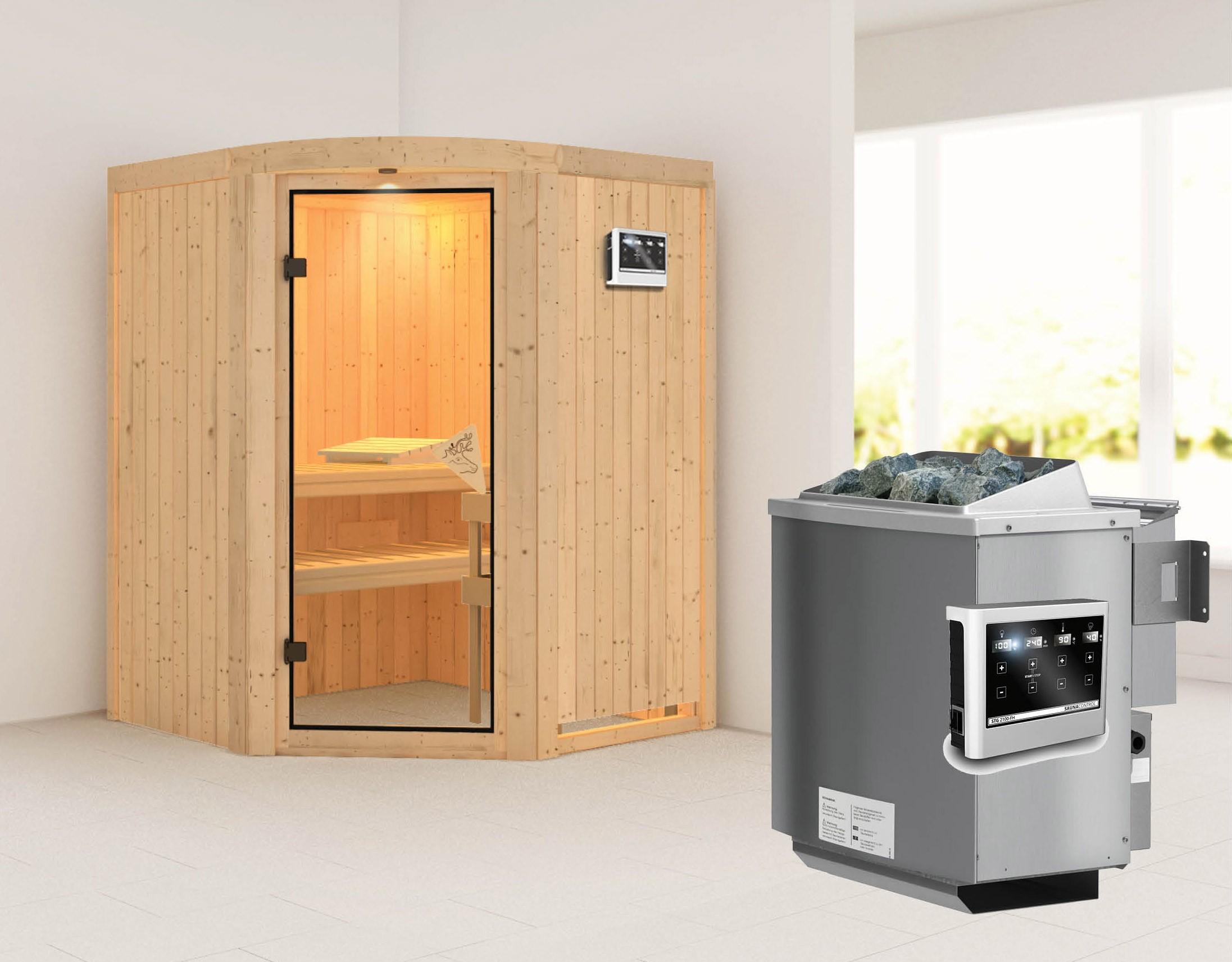 Karibu Sauna Asmada 68mm mit Bio Ofen 9kW extern classic Tür Bild 1
