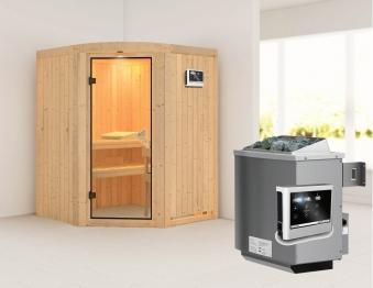 Karibu Sauna Asmada 68mm mit Ofen 9kW extern classic Tür Bild 1