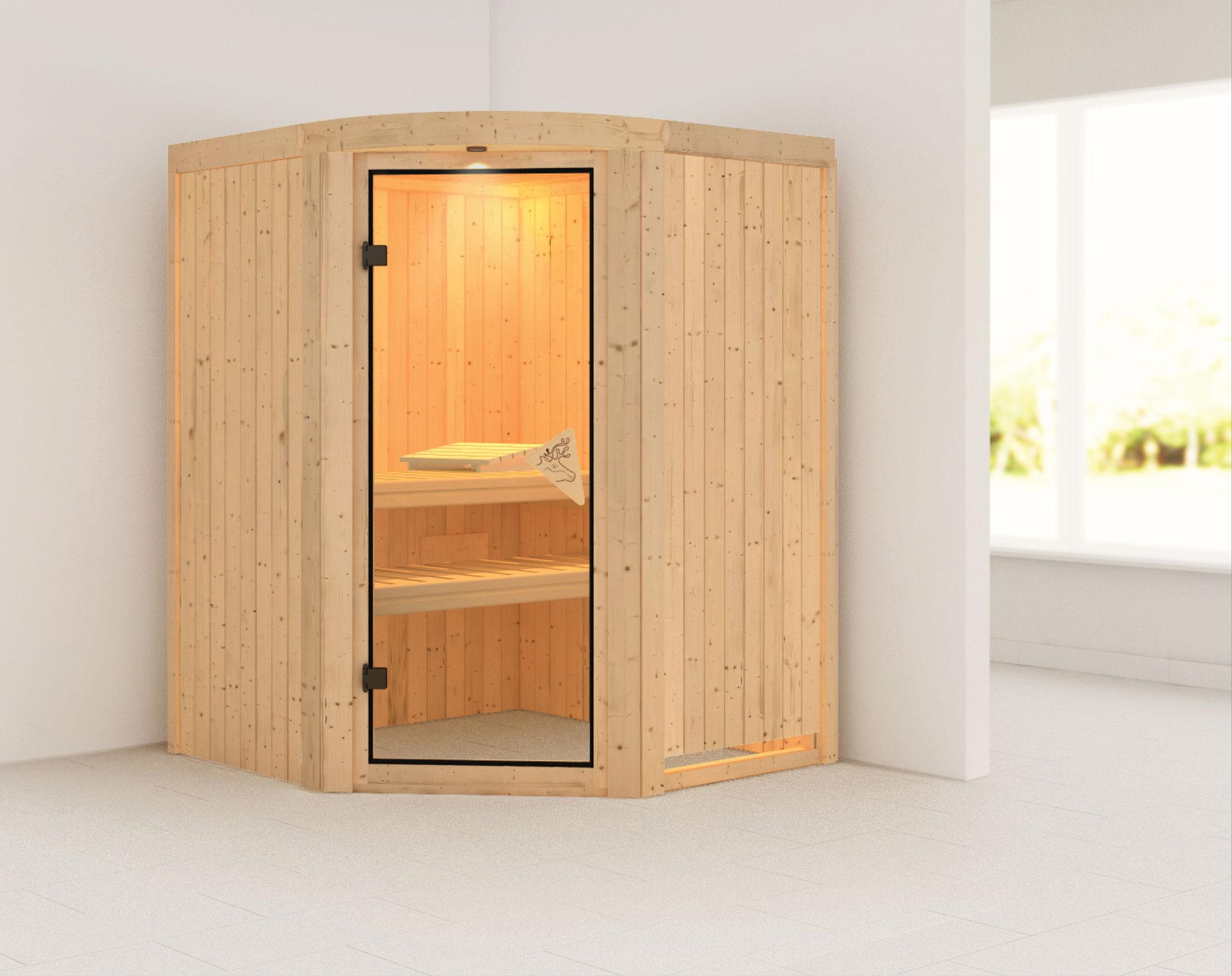 Karibu Sauna Asmada 68mm ohne Ofen classic Tür Bild 1