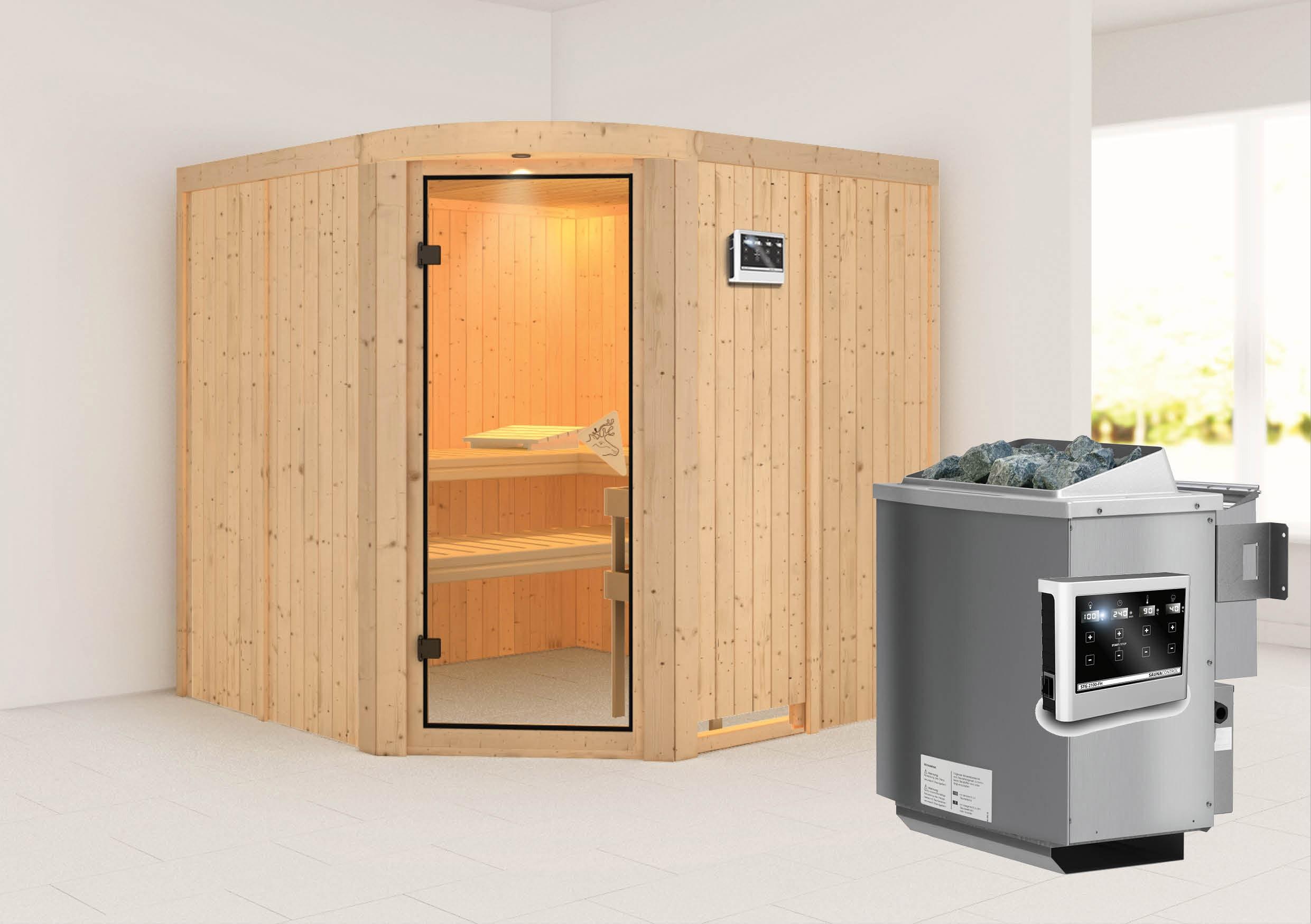 Karibu Sauna Aukura 68mm mit Bio Ofen 9kW extern classic Tür Bild 1