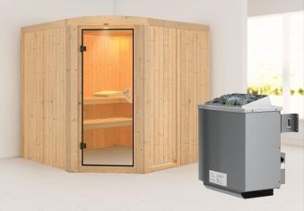 Karibu Sauna Aukura 68mm mit Ofen 9kW intern classic Tür Bild 1