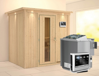 Karibu Sauna Bodin 68mm Dachkranz Bio Saunaofen 9kW extern Holztür Bild 1
