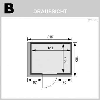 Karibu Sauna Bodin 68mm Dachkranz Bio Saunaofen 9kW extern Holztür Bild 2