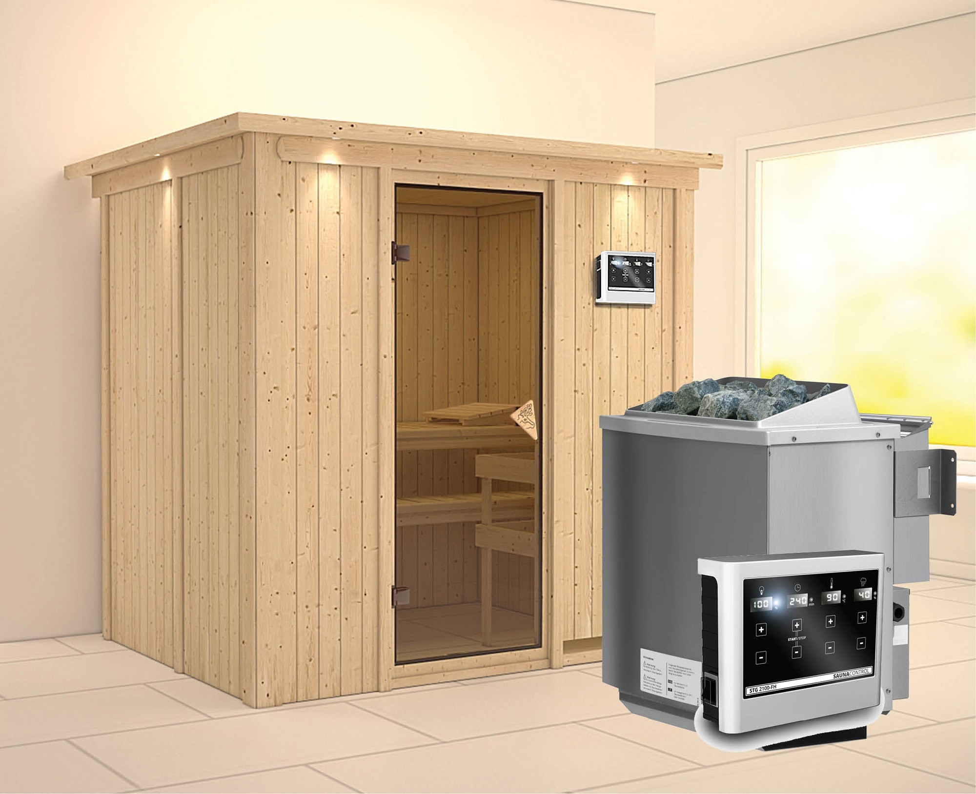 Karibu Sauna Bodin 68mm Dachkranz Bio Saunaofen 9kW extern classic Tür Bild 1