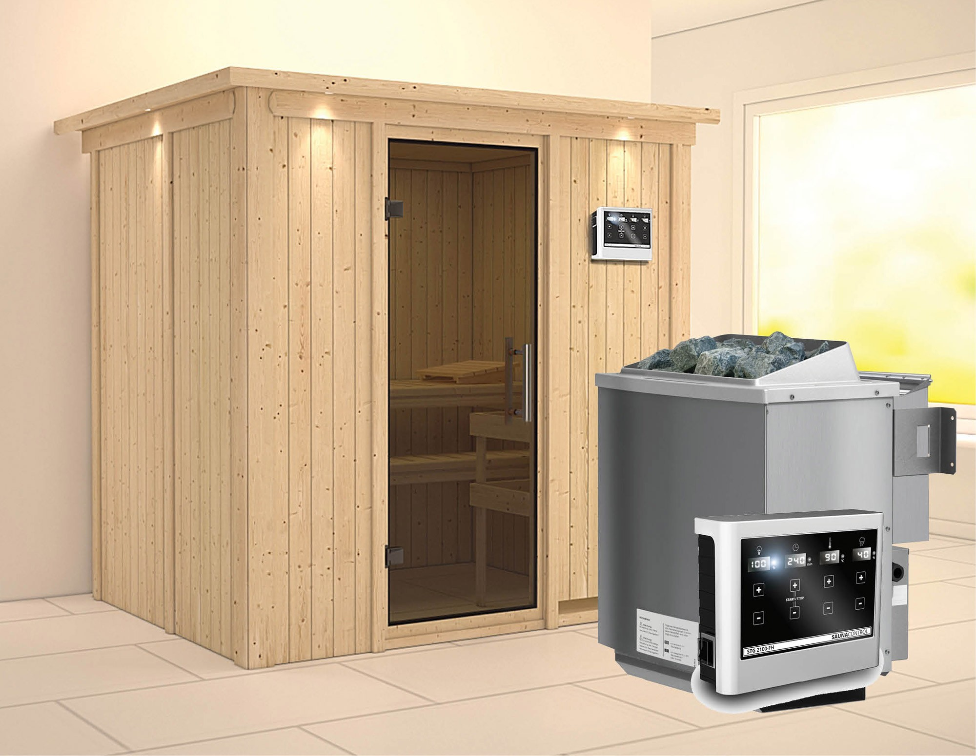 Karibu Sauna Bodin 68mm Dachkranz Bio Saunaofen 9kW extern moderne Tür Bild 1