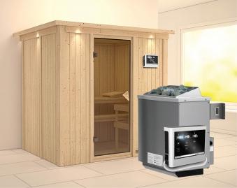 Karibu Sauna Bodin 68mm Dachkranz mit Saunaofen 9kW extern classic Tür Bild 1