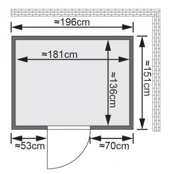 Karibu Sauna Bodin 68mm Dachkranz mit Saunaofen 9kW extern classic Tür Bild 2