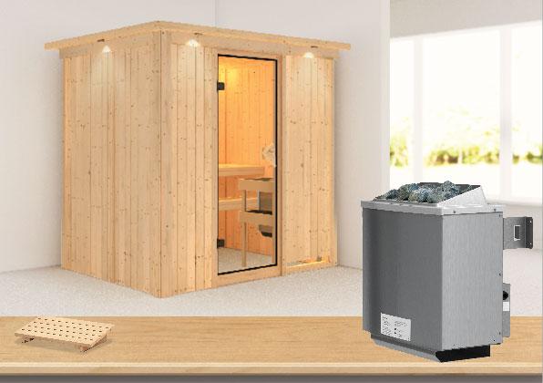 Karibu Sauna Bodin 68mm Dachkranz mit Saunaofen 9kW int. classic Tür Bild 1
