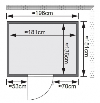Karibu Sauna Bodin 68mm Dachkranz mit Saunaofen 9kW int. classic Tür Bild 2
