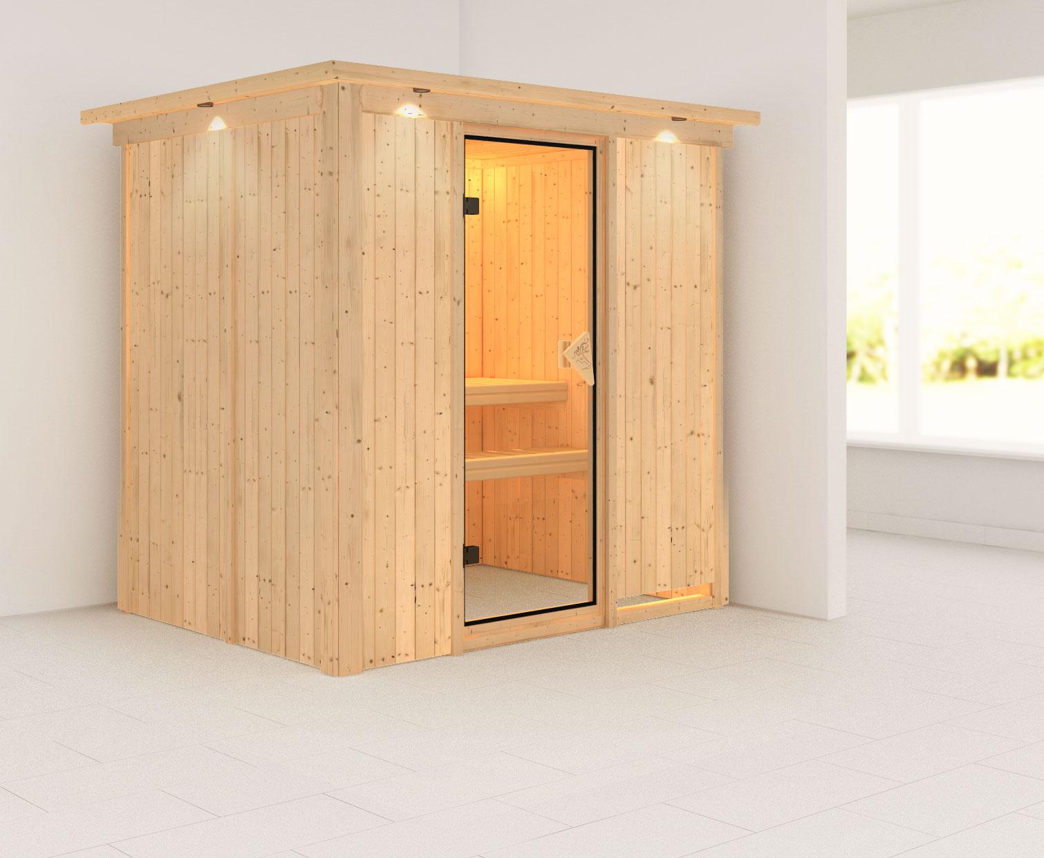 Karibu Sauna Bodin 68mm Dachkranz ohne Saunaofen classic Tür Bild 1