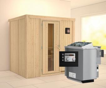 Karibu Sauna Bodin 68mm mit Bio Saunaofen 9kW extern Holztür Bild 1