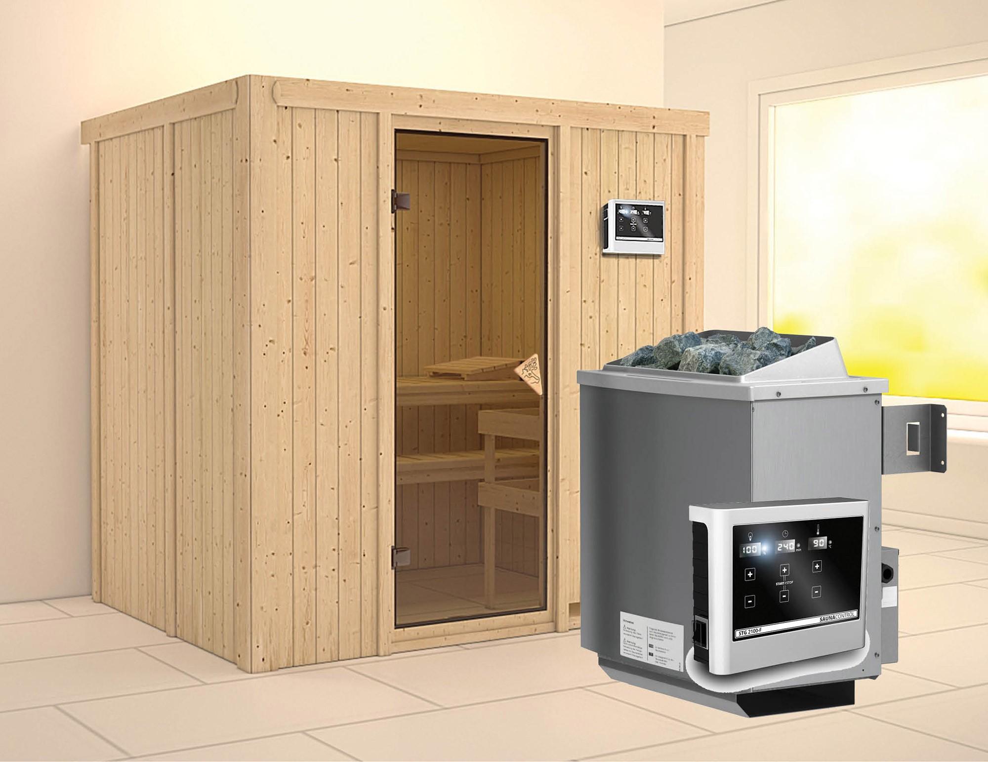 Karibu Sauna Bodin 68mm mit Saunaofen 9kW extern classic Tür Bild 1