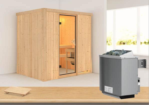 Karibu Sauna Bodin 68mm mit Saunaofen 9kW intern classic Tür Bild 1