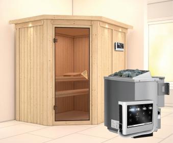 Karibu Sauna Carin 68mm Dachkranz + Bio Ofen 9kW extern classic Tür Bild 1