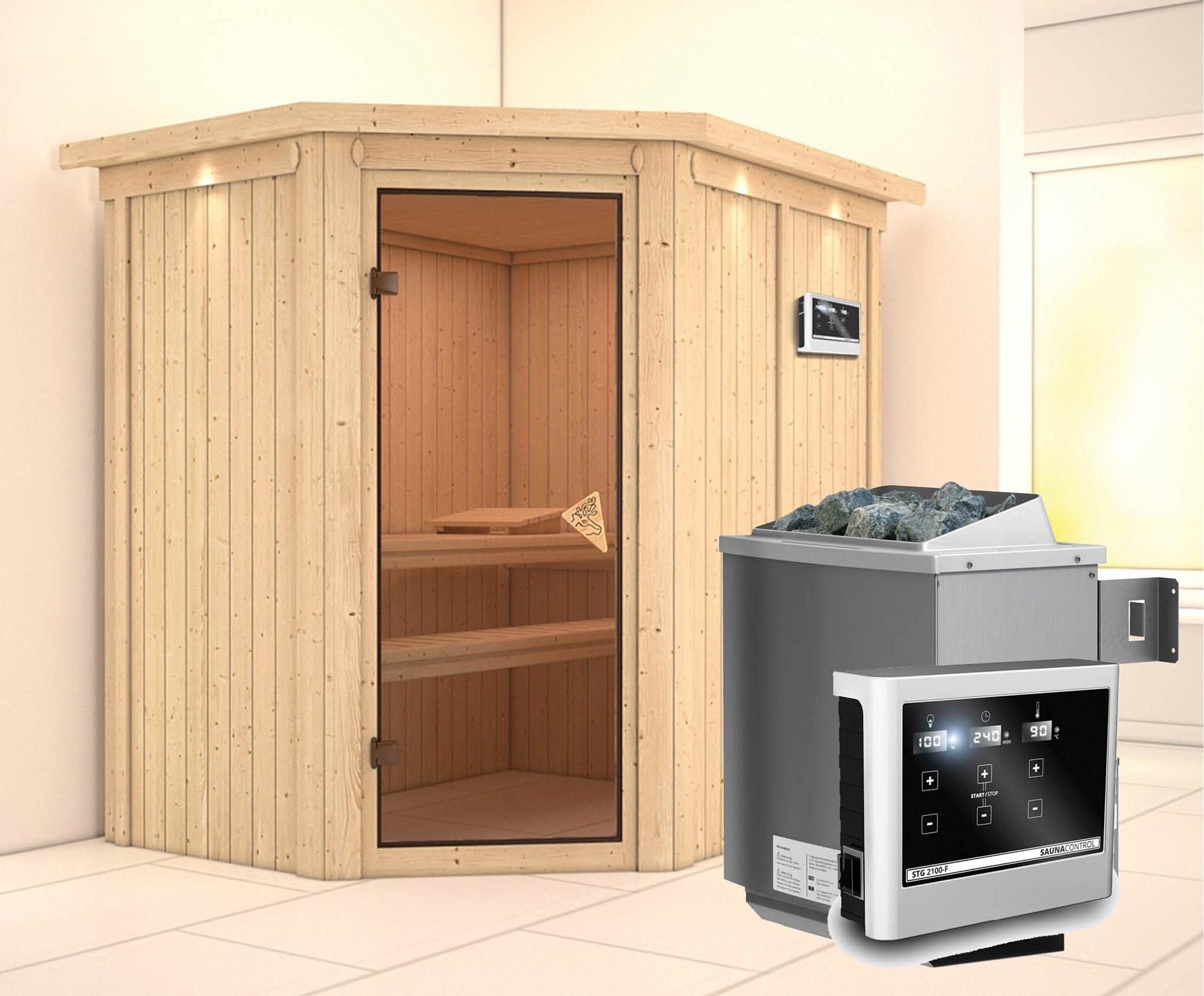 Karibu Sauna Carin 68mm Dachkranz + Ofen 9kW extern classic Tür Bild 1