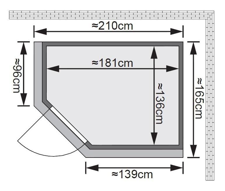Karibu Sauna Carin 68mm Dachkranz + Ofen 9kW extern classic Tür Bild 2