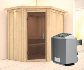 Karibu Sauna Carin 68mm Dachkranz + Ofen 9kW intern moderne Tür Bild 1