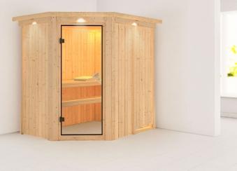 Karibu Sauna Carin 68mm Dachkranz ohne Ofen classic Tür Bild 1