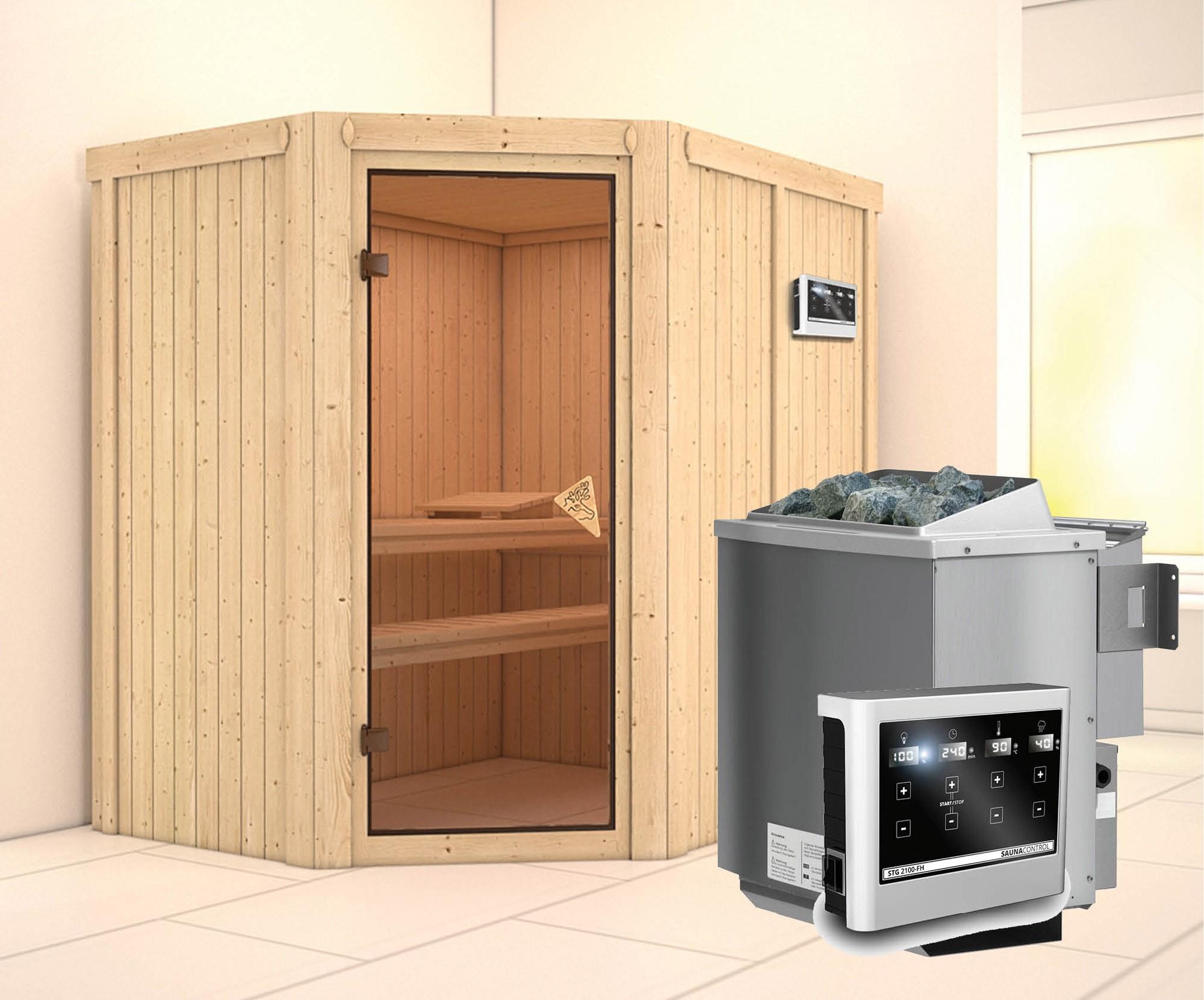 Karibu Sauna Carin 68mm mit Bio Ofen 9kW classic Tür Bild 1