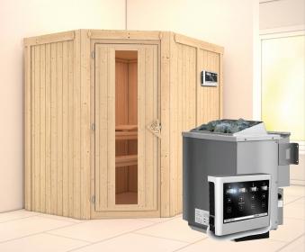 Karibu Sauna Carin 68mm mit Bio Ofen 9kW extern Holztür Bild 1