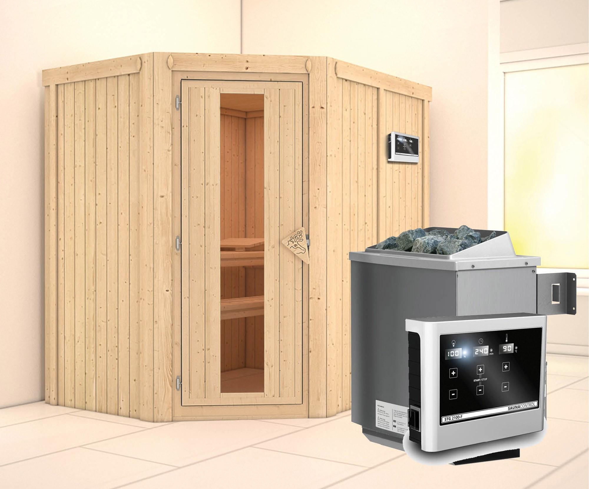 Karibu Sauna Carin 68mm mit Ofen 9kW extern Holztür Bild 1