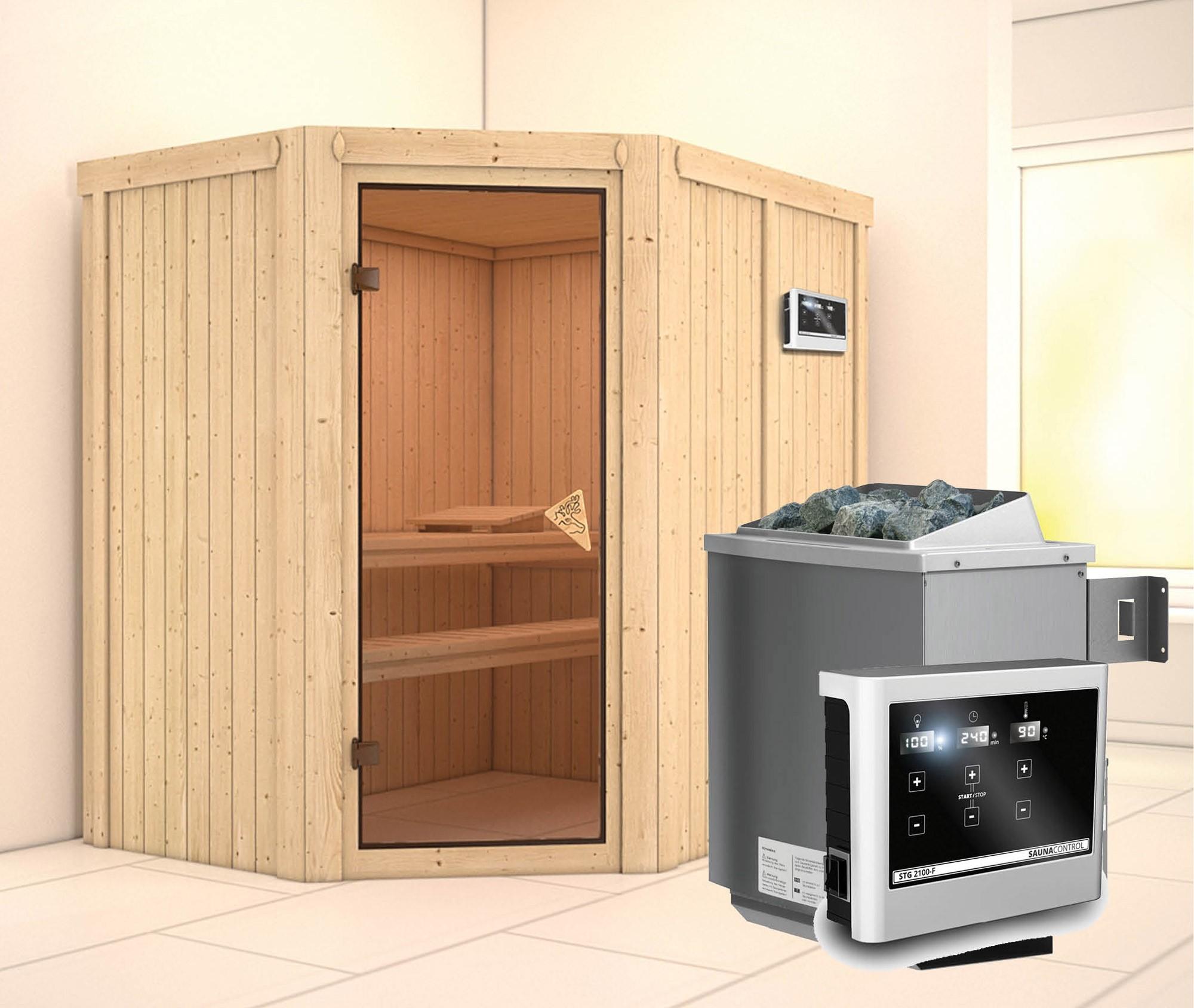 Karibu Sauna Carin 68mm mit Ofen 9kW extern classic Tür Bild 1