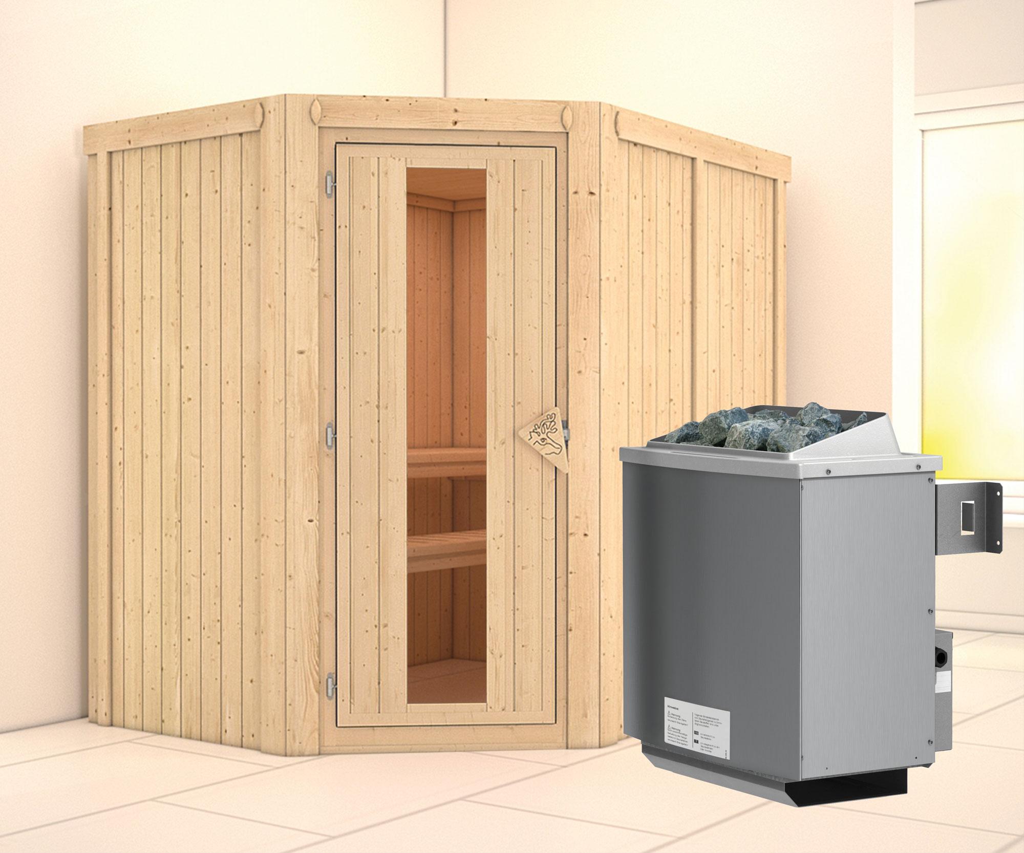 Karibu Sauna Carin 68mm mit Ofen 9kW intern Holztür Bild 1