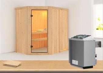 Karibu Sauna Carin 68mm mit Ofen 9kW intern classic Tür Bild 1