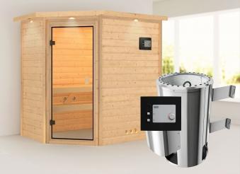 Karibu Sauna Cilja 38mm 230V Dachkranz + Ofen 3,6kW extern classic Tür Bild 1