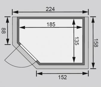 Karibu Sauna Cilja 38mm 230V Dachkranz + Ofen 3,6kW extern classic Tür Bild 2
