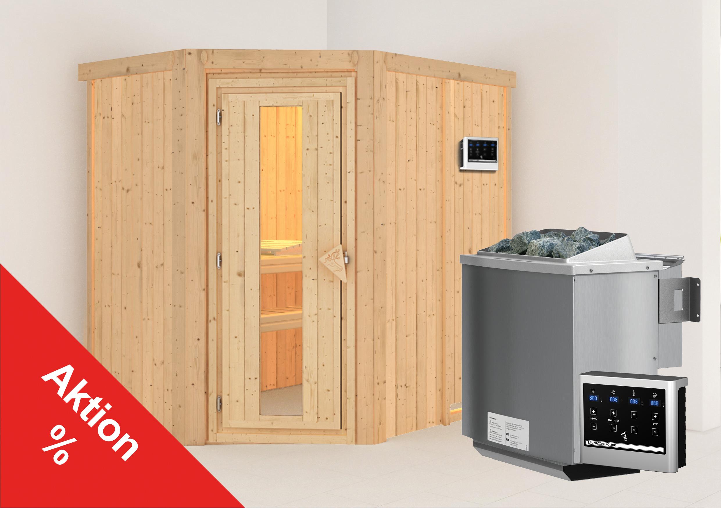 Karibu Sauna Corina 68mm mit Bio Ofen 9kW extern Holztür Aktion Bild 1
