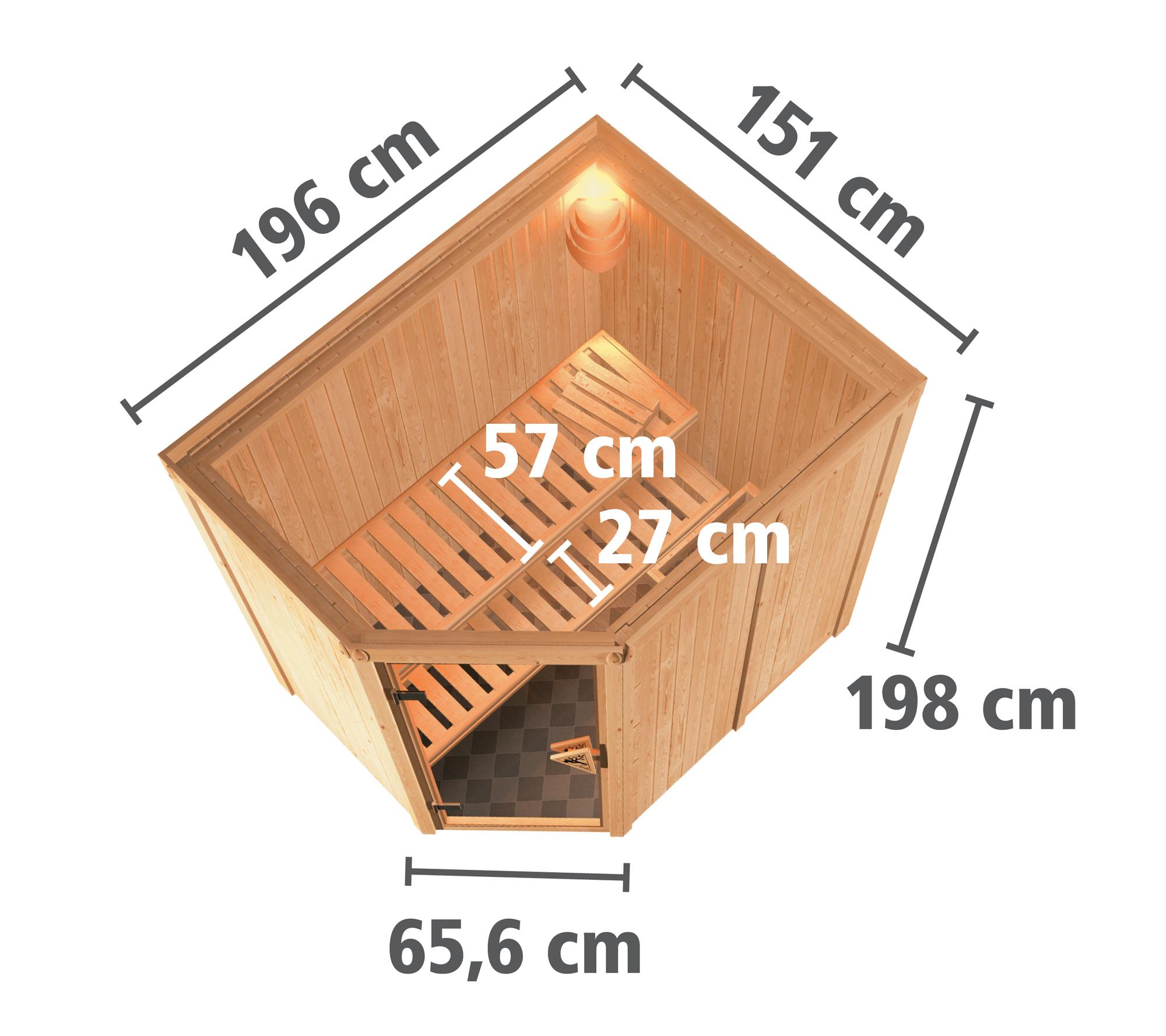Karibu Sauna Corina 68mm mit Bio Ofen 9kW extern Holztür Aktion Bild 6