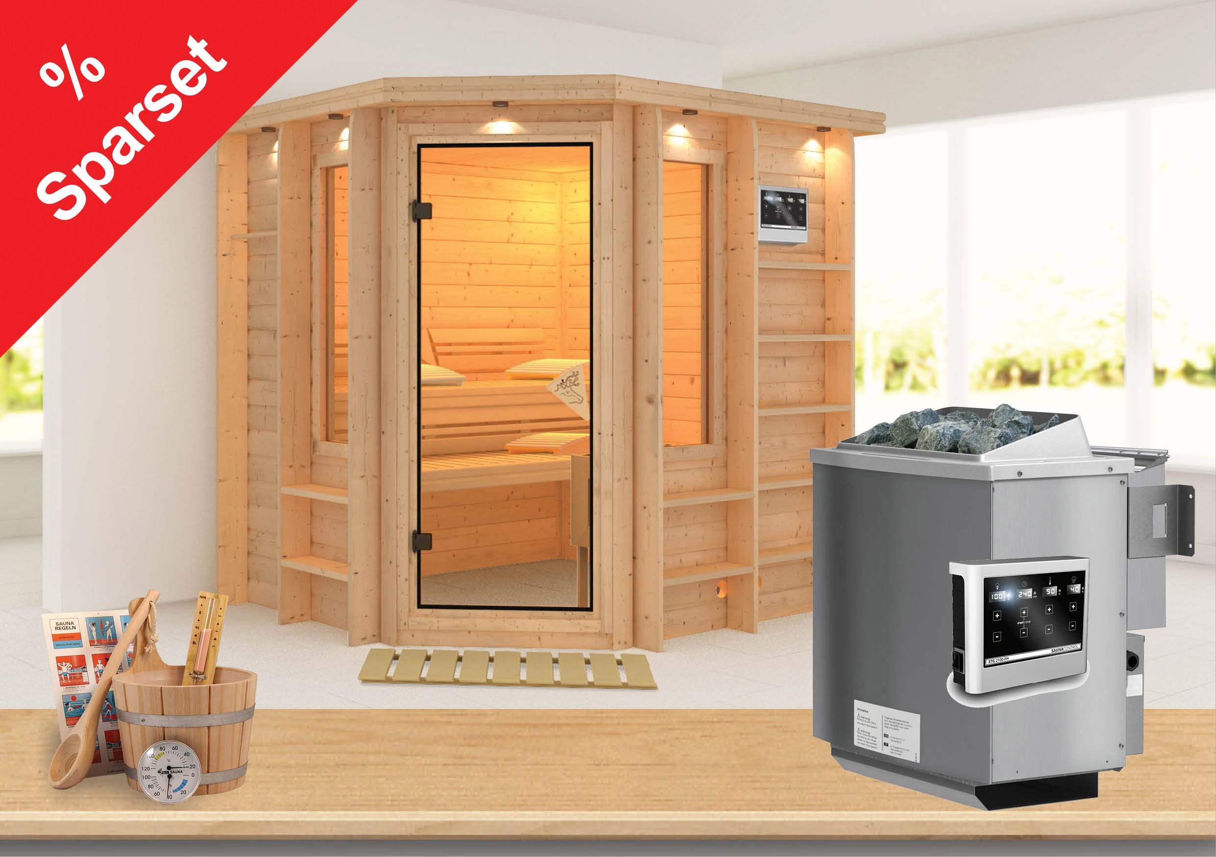 Karibu Sauna Cortona 40mm Dachkranz + Bio Ofen 9 kW extern - Sparset Bild 1