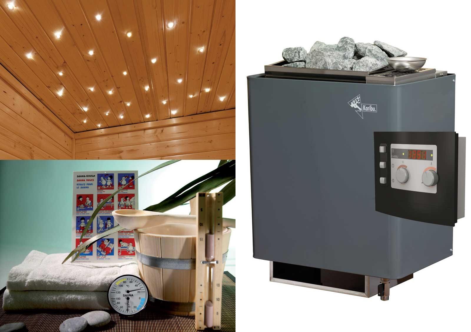 Karibu Sauna Cortona 40mm Dachkranz + Bio Ofen 9 kW extern - Sparset Bild 3