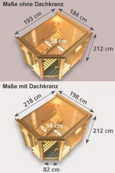 Karibu Sauna Cortona 40mm Dachkranz + Bio Ofen 9 kW extern - Sparset Bild 2