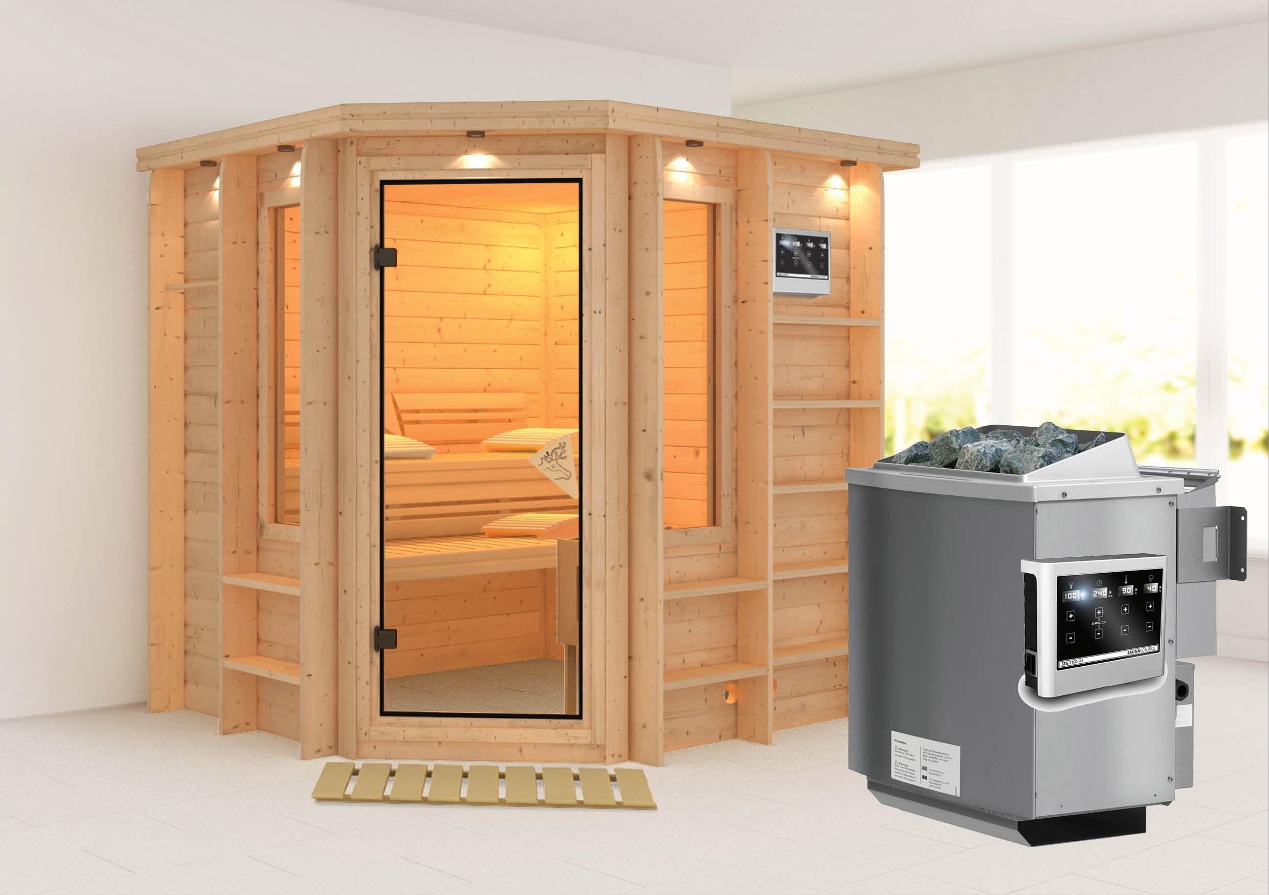 Karibu Sauna Cortona 40mm Dachkranz + Bio Ofen 9kW extern classic Tür Bild 1