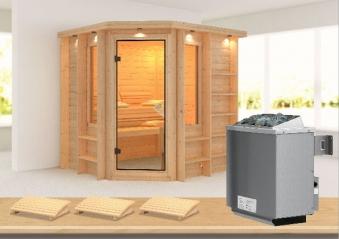 Karibu Sauna Cortona 40mm Dachkranz + Ofen 9kW intern classic Tür Bild 1