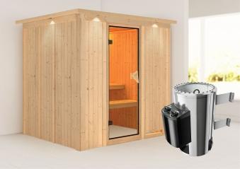 Karibu Sauna Daria 68mm 230V Dachkranz + Ofen 3,6kW intern classic Tür Bild 1