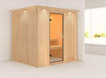 Karibu Sauna Daria 68mm 230V Dachkranz ohne Ofen classic Tür Bild 1
