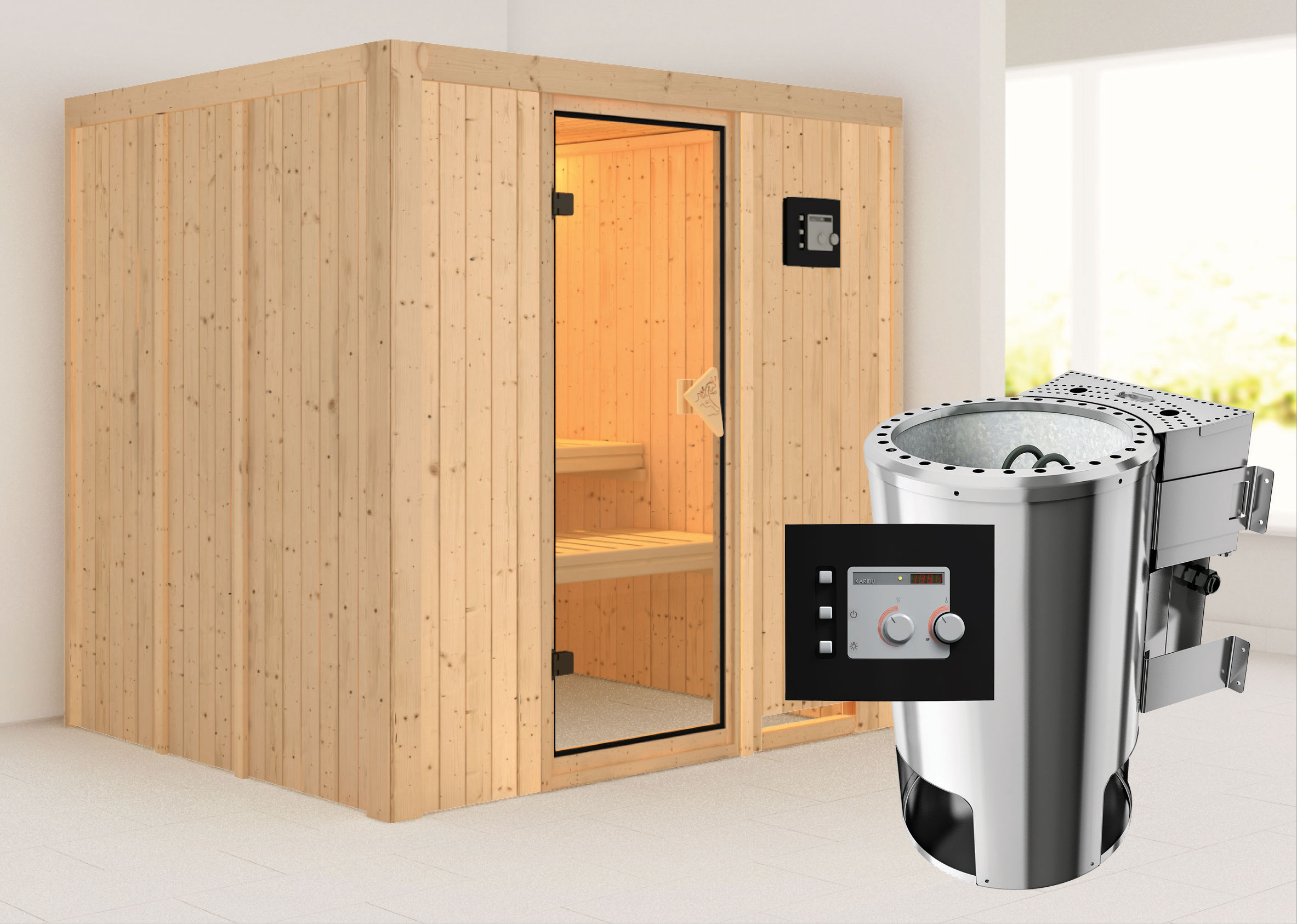 Karibu Sauna Daria 68mm 230V mit Bio Ofen 3,6kW extern classic Tür Bild 1