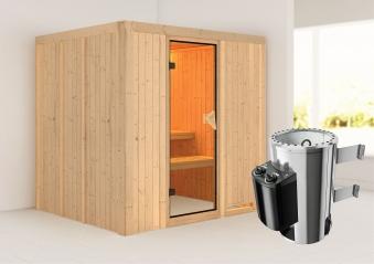 Karibu Sauna Daria 68mm 230V mit Ofen 3,6kW intern classic Tür Bild 1
