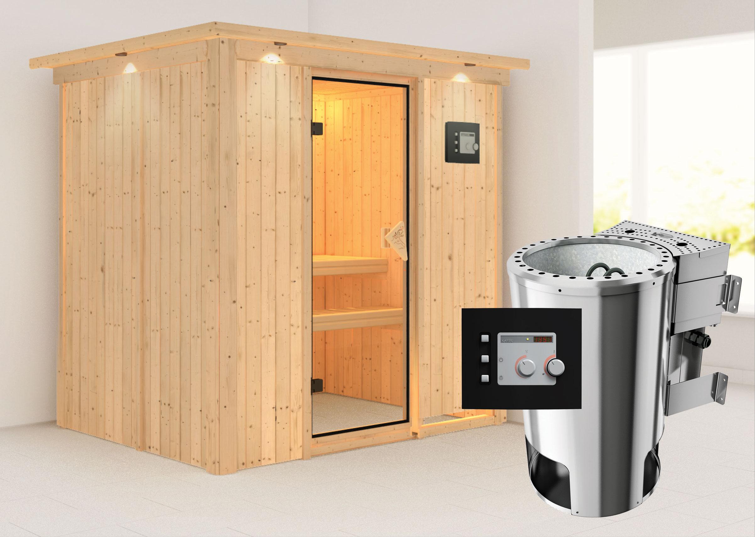 Karibu Sauna Fanja 68mm 230V Dachkranz + BioOfen 3,6kW ext classic Tür Bild 1