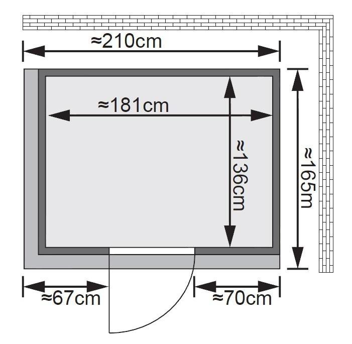 Karibu Sauna Fanja 68mm 230V Dachkranz + Ofen 3,6kW intern classic Tür Bild 2