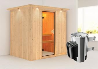 Karibu Sauna Fanja 68mm 230V Dachkranz + Ofen 3,6kW intern classic Tür Bild 1