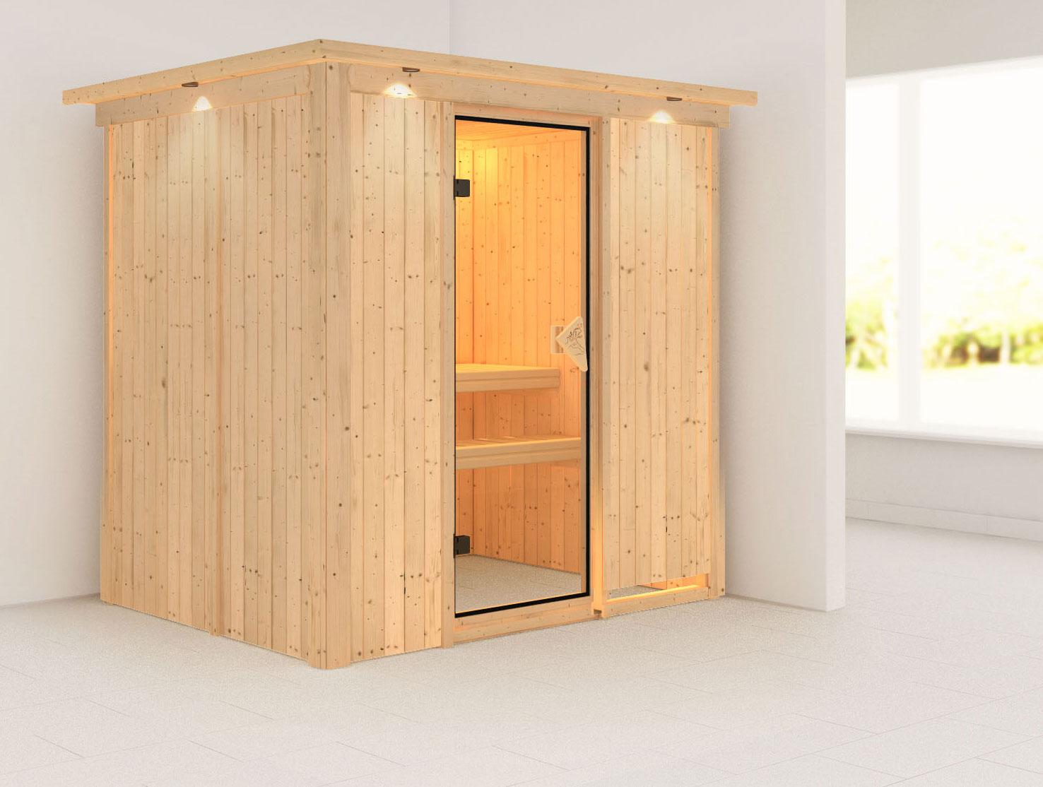 Karibu Sauna Fanja 68mm 230V Dachkranz ohne Ofen classic Tür Bild 1