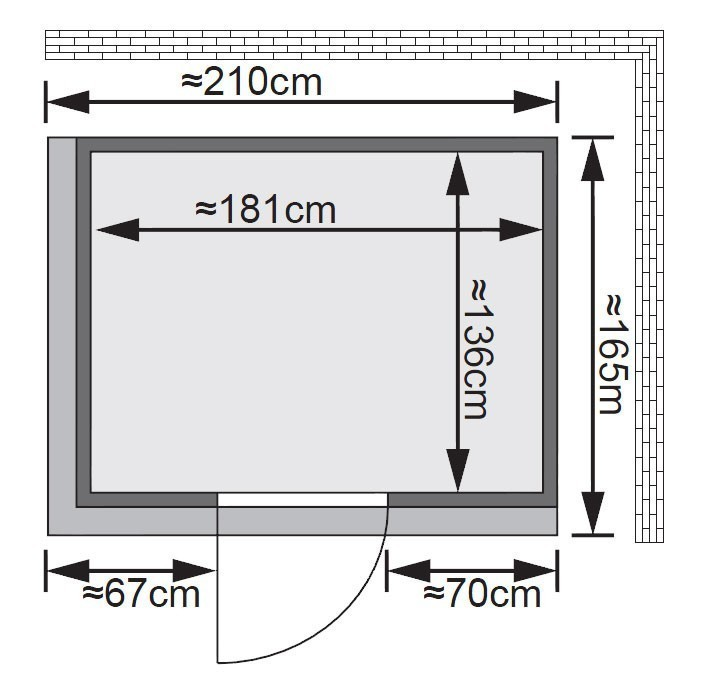 Karibu Sauna Fanja 68mm 230V Dachkranz ohne Ofen classic Tür Bild 2