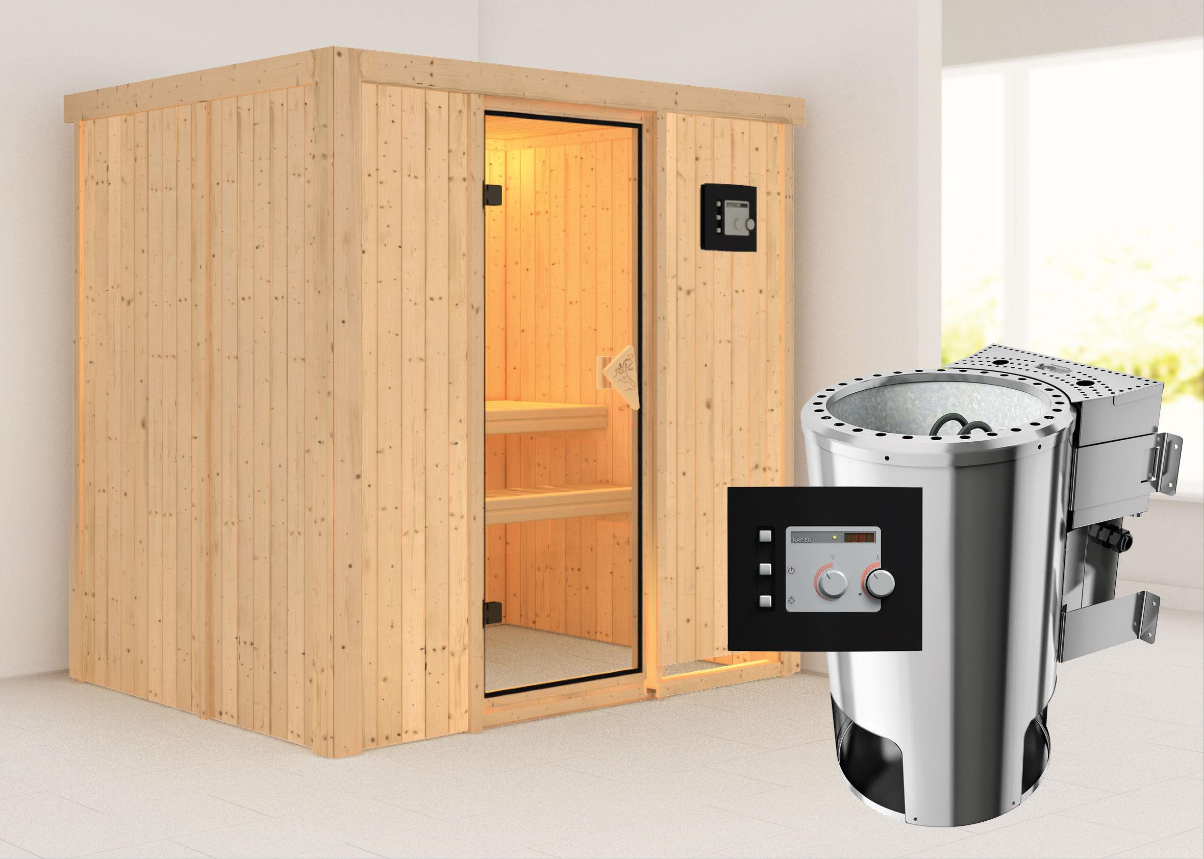 Karibu Sauna Fanja 68mm 230V mit Bio Ofen 3,6 kW extern classic Tür Bild 1