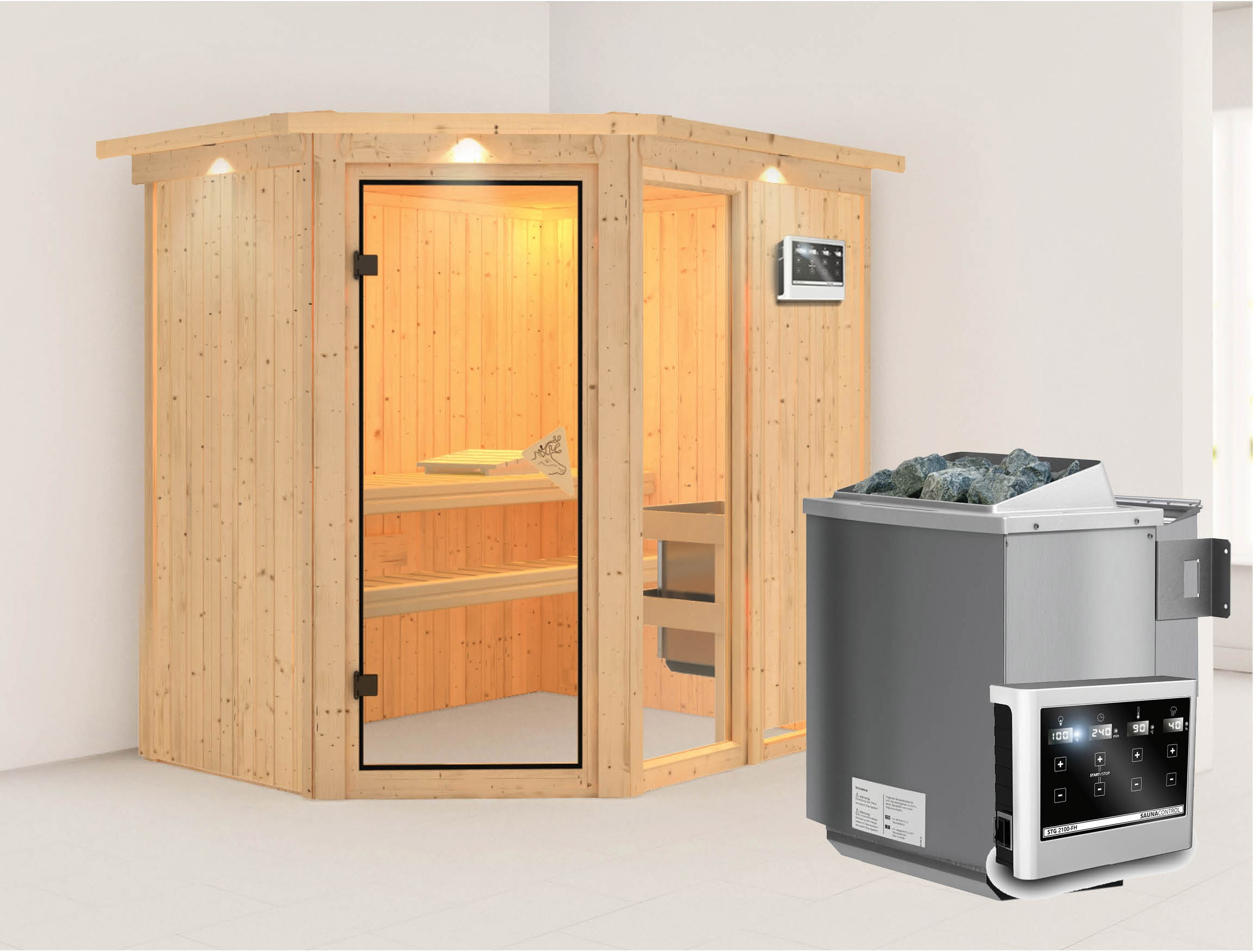Karibu Sauna Fiona 1 68mm Dachkranz + Bio Ofen 9kW extern classic Tür Bild 1
